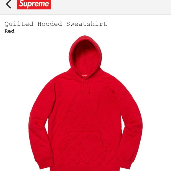 new style of 2019 large assortment clear-cut texture Supreme Quilted hoodie (Red) Embroidery on hood Boutique
